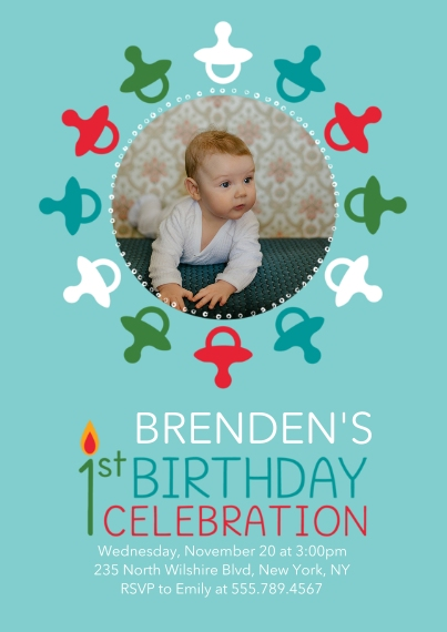 Kids Birthday Party Invites 5x7 Cards, Premium Cardstock 120lb, Card & Stationery -1st Birthday Pacifiers