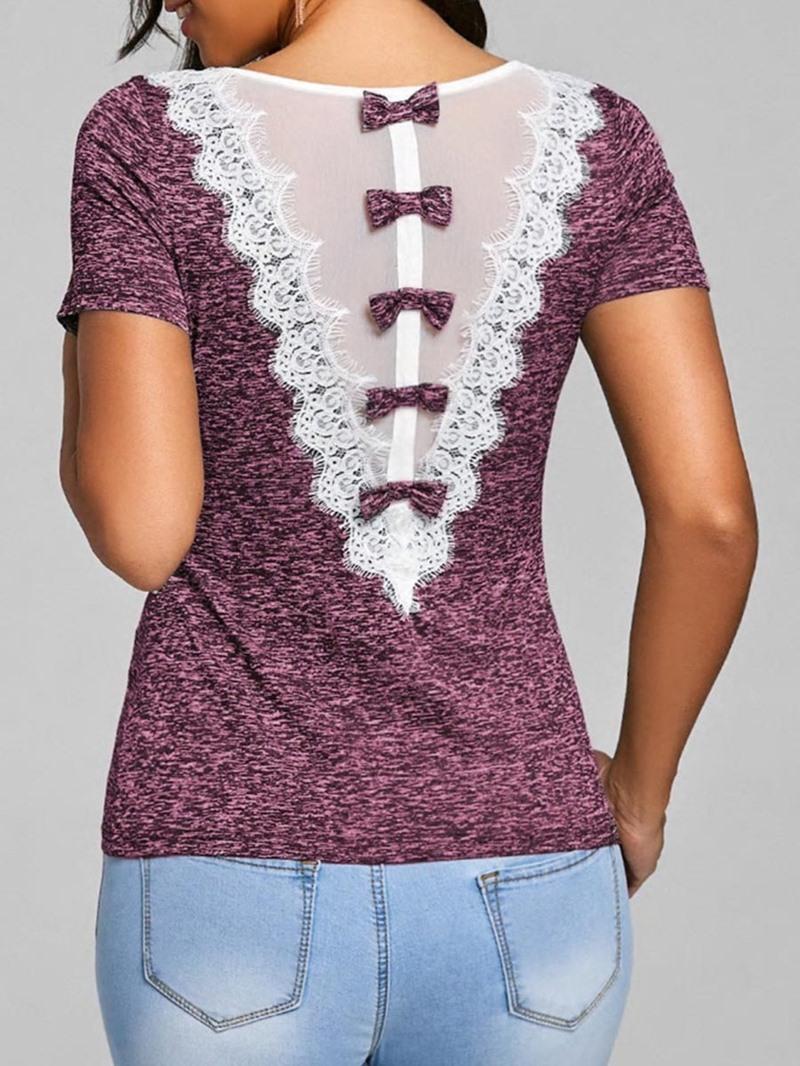 Ericdress Women's Bowknot Patchwork Short Sleeve Tee Shirt