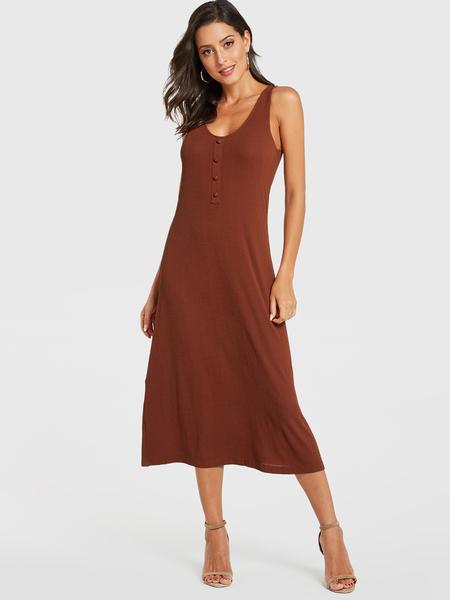 YOINS Rust Scoop Neck Button Design Sleeveless Dress