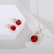 3 piezas set joya con diseño de cristal