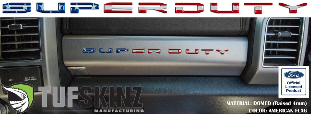 Tufskinz SUP052-GTO-RWB-G SUPER DUTY Glove Box Letter Inserts Fits 2017-2021 Ford Super Duty 10 Piece Kit in American Flag