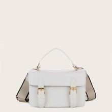 Pin Buckle Decor Top Handle Satchel Bag