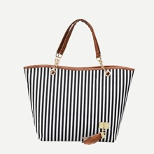 Striped Decor Tassel Tote Bag