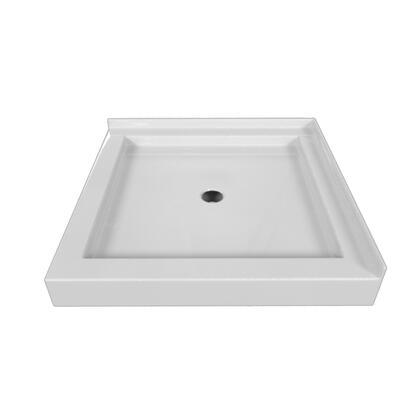 SBDT-3232-LT-WHT Double Threshold White Acrylic Center Drain Shower Base Left Hand