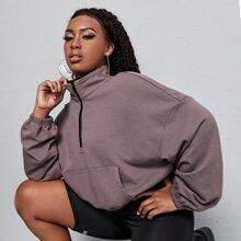 Sweatshirt mit sehr tief angesetzter Schulterpartie und Reissverschluss vorn