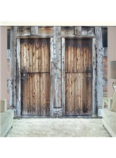 3D Locked Rusty Barn Door Country Style Printed Curtain