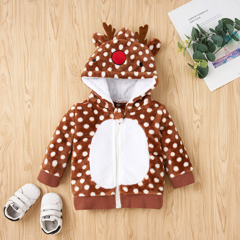 Children Elk Print Long Sleeves Hooded Coat For 1-7Y
