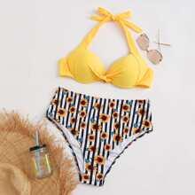 Bañador bikini halter girante de rayas con girasol