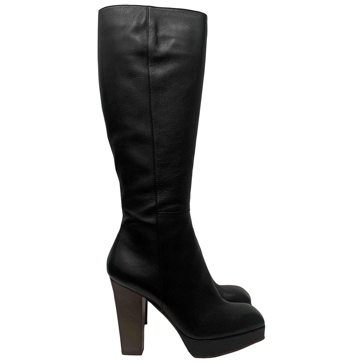 Yves Saint Laurent \N Black Leather Boots for Women 39.5 EU