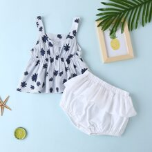 Baby Girl Stripe & Floral Print Cami Top With Shorts