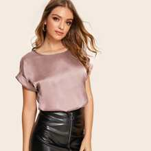Rolled Cuff Satin Top