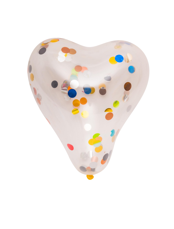 Ballon Herz gefuellt mit Konfetti 5 Stk. Farbe: Multicolor