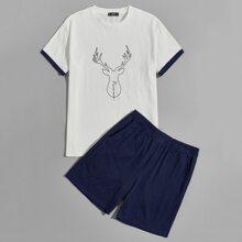 Men Contrast Cuff Letter Graphic Top & Shorts PJ Set