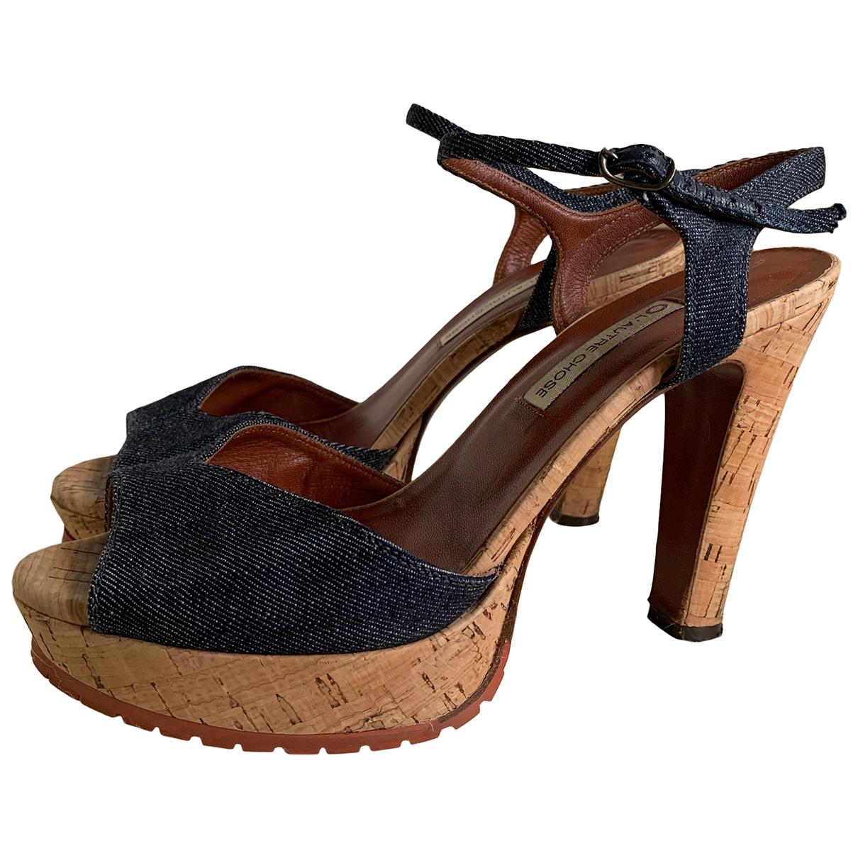- Sandales   pour femme en toile - bleu