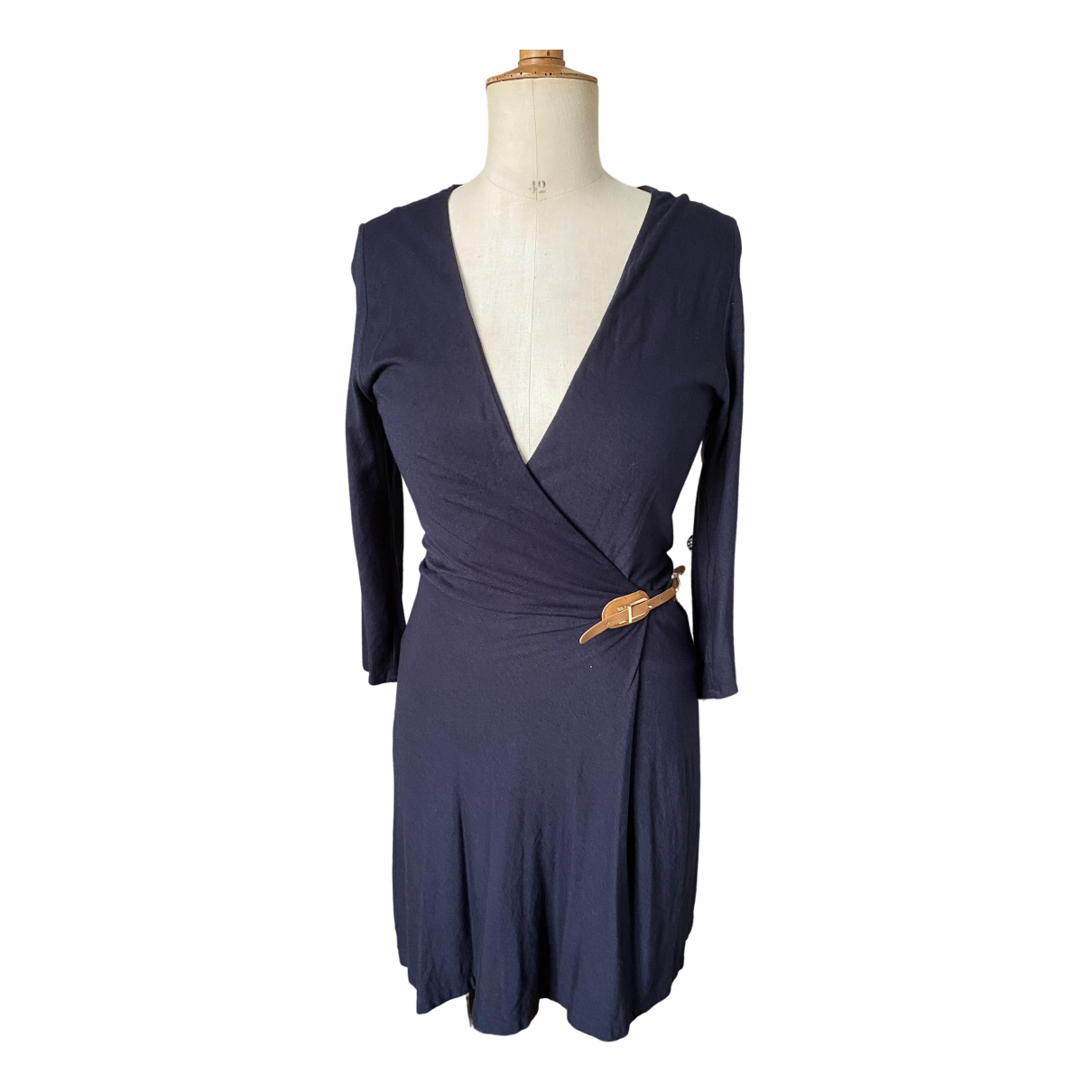 Massimo Dutti \N Kleid in  Marine Baumwolle