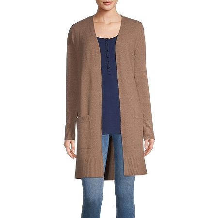 a.n.a Womens Asymmetrical Neck Cardigan, Petite X-large , Brown