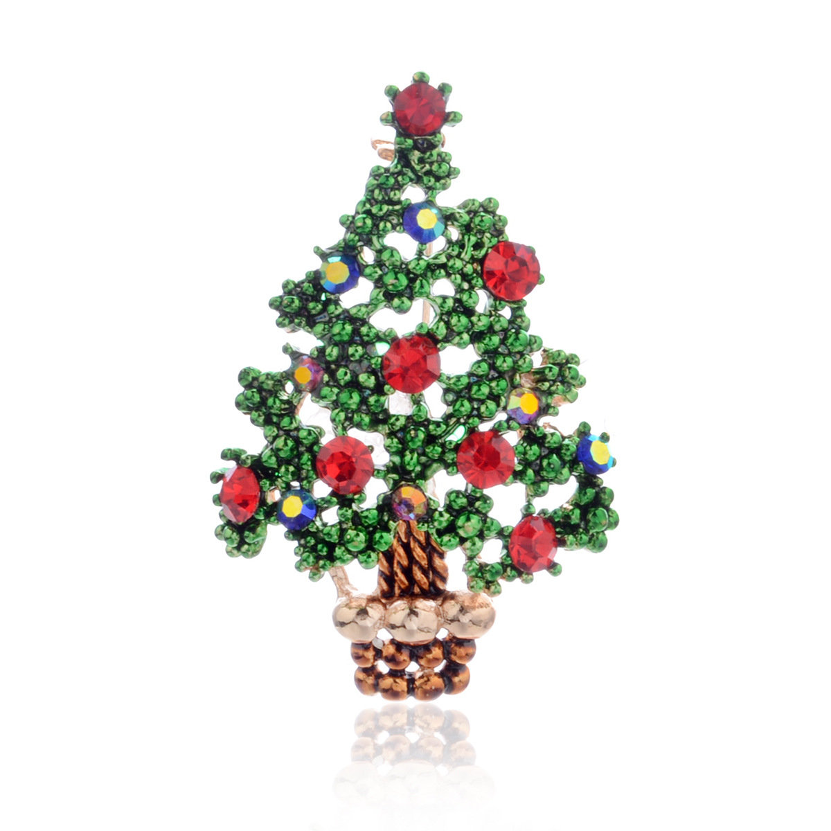 Trendy Metal Green Christmas Tree Brooch Geometric Rhinestone Tree Brooch Chic Jewelry