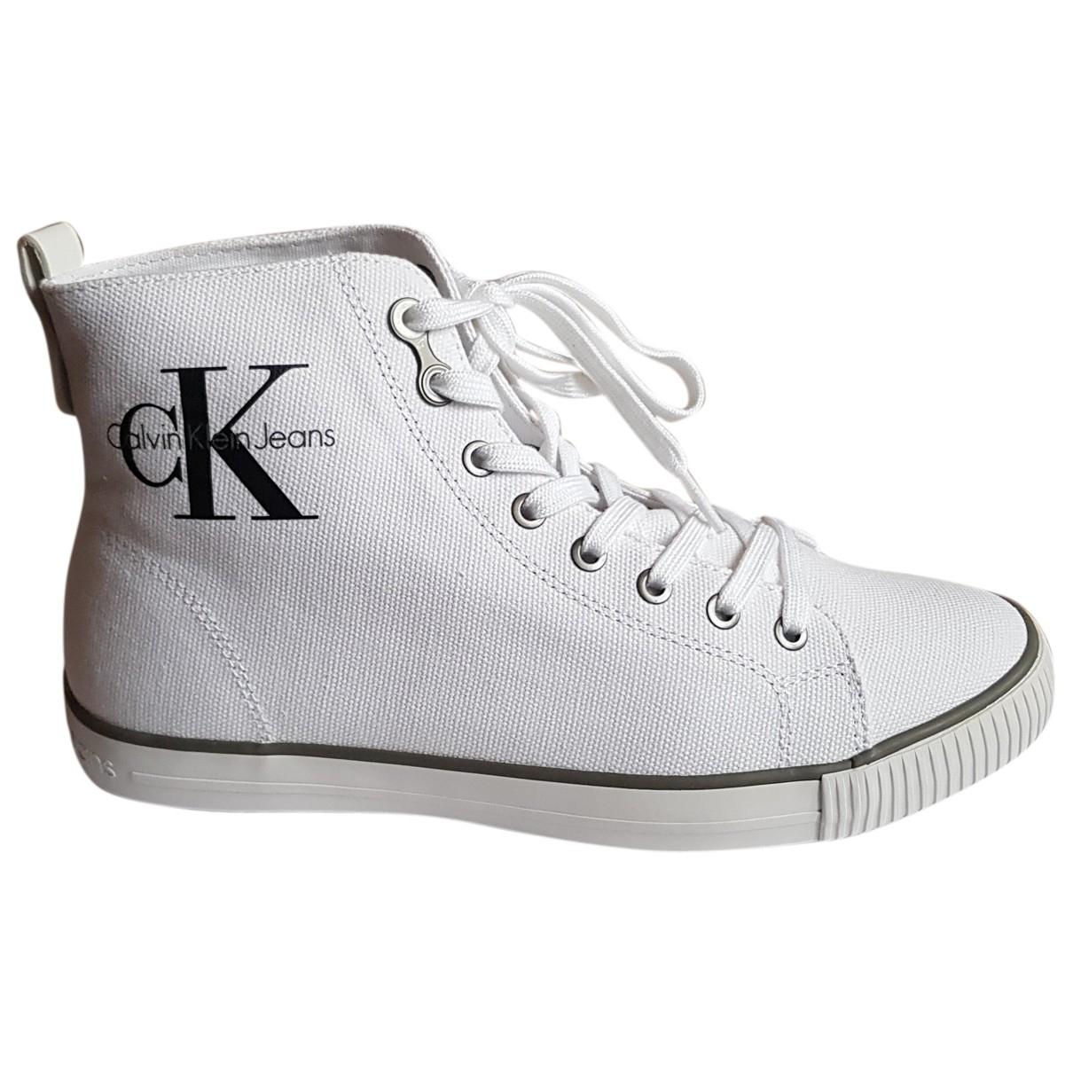 Calvin Klein - Baskets   pour homme en toile - blanc