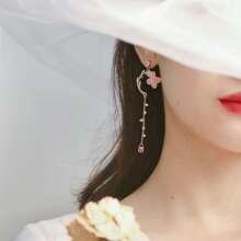 1pair Flower Detail Faux Pearl Drop Earrings