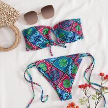 Tribal & Geo Bandeau Tie Side Bikini Swimsuit