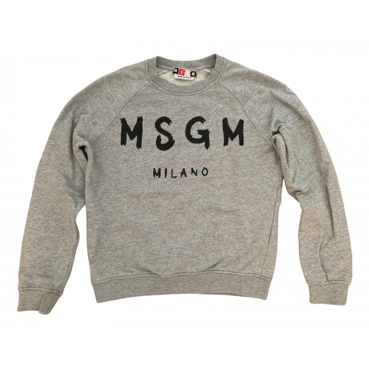 Msgm - Pull   pour femme en coton - gris