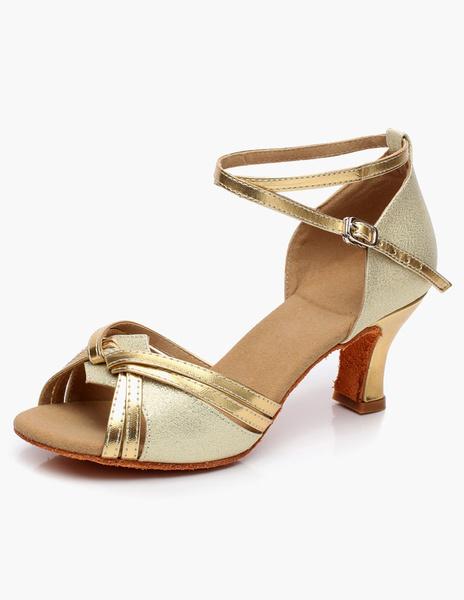 Milanoo Baile de salon zapatos de puntera abierta tacon bajo