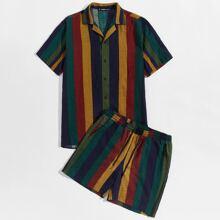 Maenner Hemd mit Streifen, kurzen Ärmeln & Shotrs Set