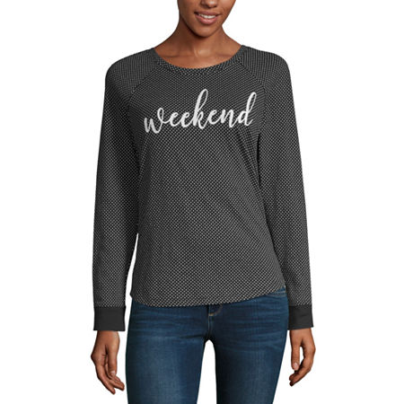 Liz Claiborne Weekend-Womens Round Neck Long Sleeve T-Shirt, Small , Black