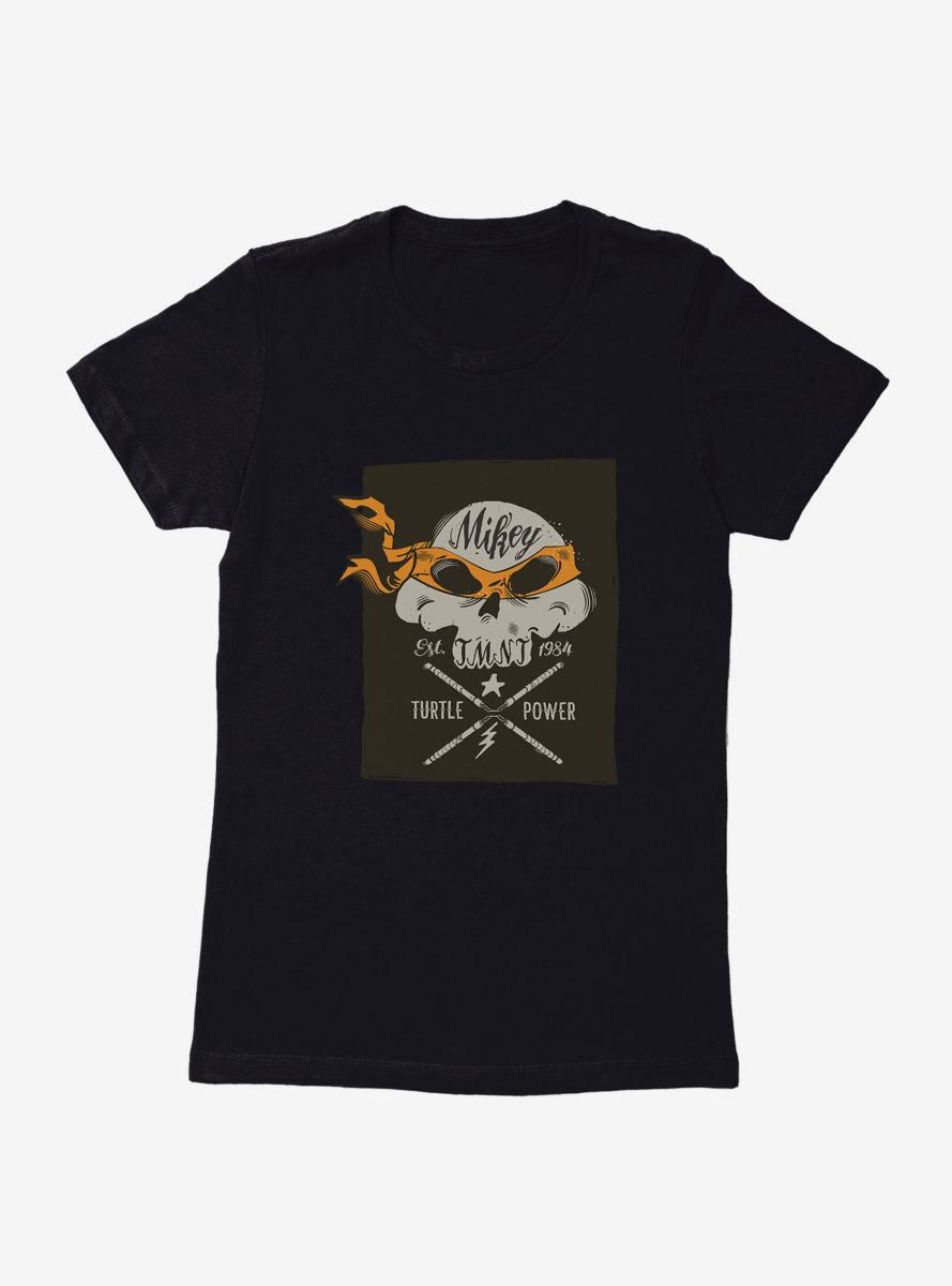Teenage Mutant Ninja Turtles Michelangelo Bandana Skull And Weapons Womens T-Shirt
