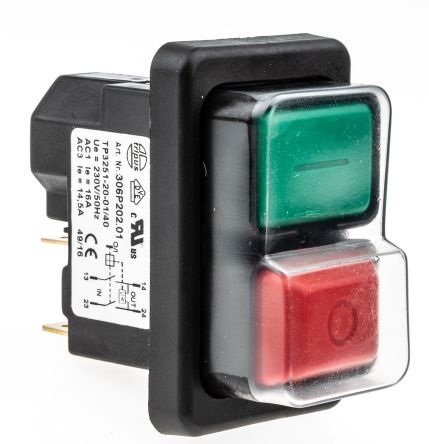 EICHOFF Double Pole Double Throw (DPDT) Latching Push Button Switch, IP65, 21.7 x 45.2mm, Panel Mount, I / O