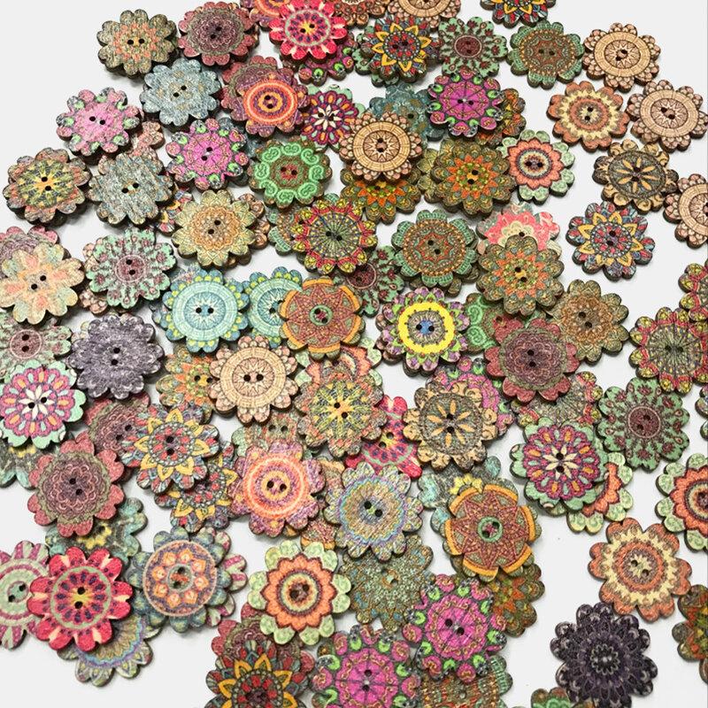 100 Pcs Wooden Retro Style Flowers Antique Bohemia Style Flower Buttons DIY Decorative Buttons