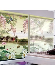 3D Printed Lotus and Flying Magpies House and Boat Chinese Style Roller Shades