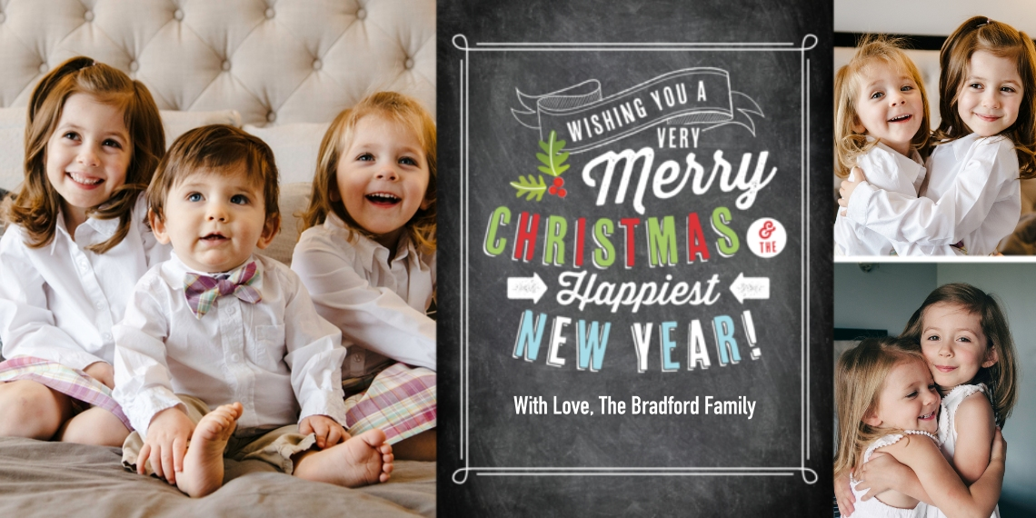 Christmas Photo Cards Flat Matte Photo Paper Cards with Envelopes, 4x8, Card & Stationery -Christmas Festive Type