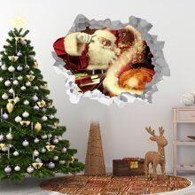 Wandaufkleber mit Weihnachtsmann Muster