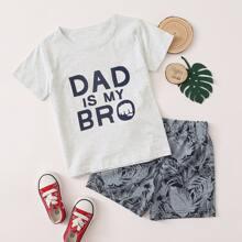T-Shirt mit Buchstaben Grafik & Track Shorts mit tropischem Muster