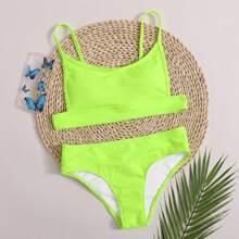Neon Lime gerippter Bikini Badeanzug