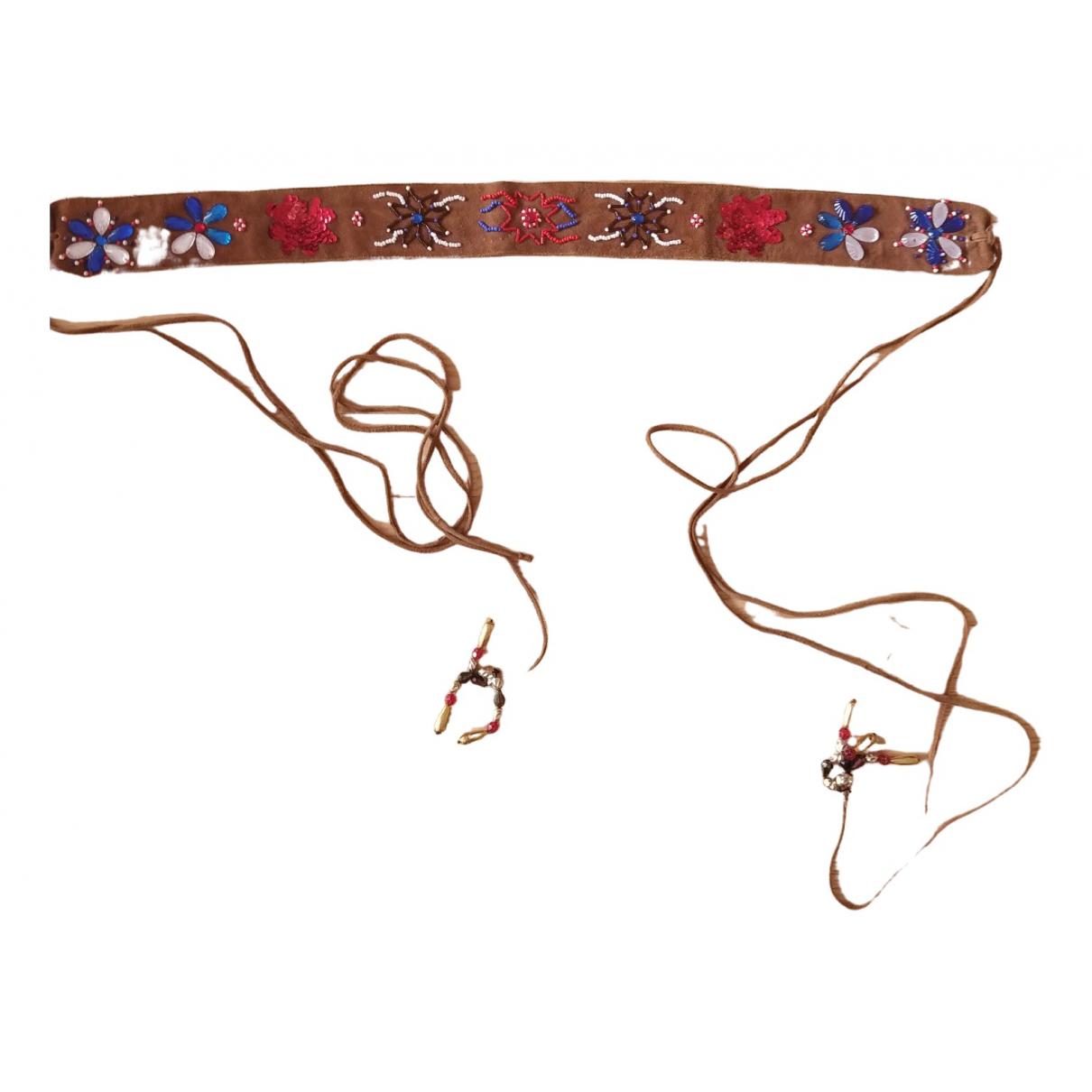 Antik Batik \N Guertel in  Braun Veloursleder