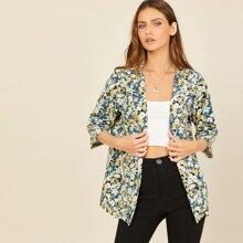 Mantel mit offener Vorderseite und Blumen Muster