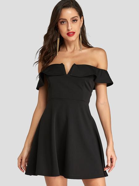 Yoins Black Off Shoulder Overlay Zip Design Mini Dress