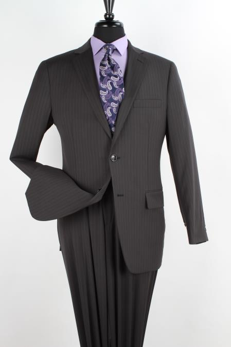 Mens 2 Piece 1 Wool Executive Suit Notch Lapel Black with PencStripe