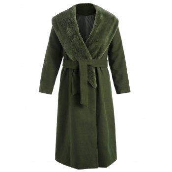 Plus Size Faux Fur Collar Wrap Coat
