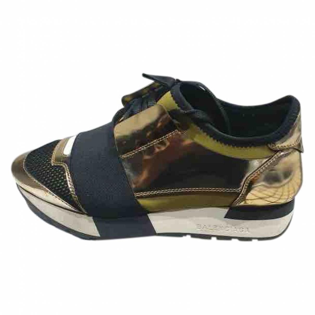 Balenciaga Race Gold Patent leather Trainers for Women 36 EU