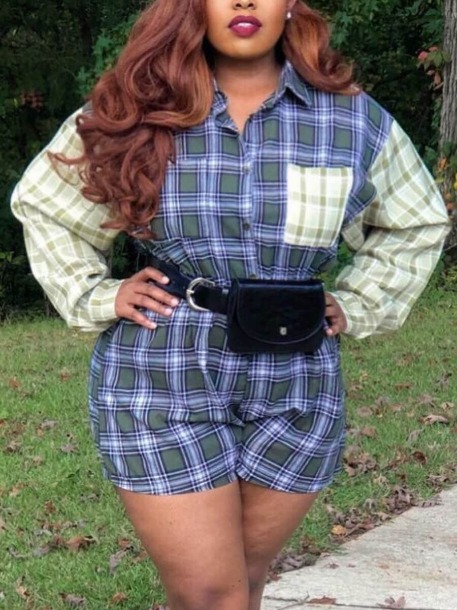 LW Lovely Casual Shirt Collar Patchwork Blue Plus Size One-piece Romper