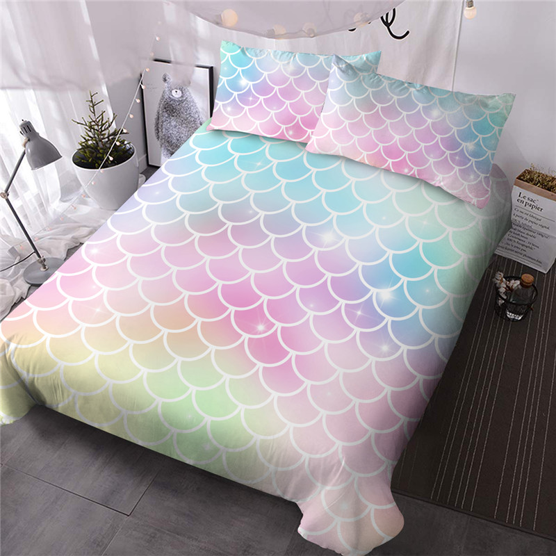 Colorful Scale Machine Wash Reactive Printing Three-Piece Set Comforter Set Polyester Bedding Sets