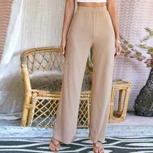 Elastic Waist Rib-knit Wide Leg Pants