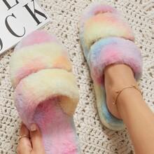 Kunstpelz Sandalen mit Regenbogen Batik