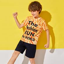 Boys Slogan Graphic Tie Dye Top & Solid Shorts Set