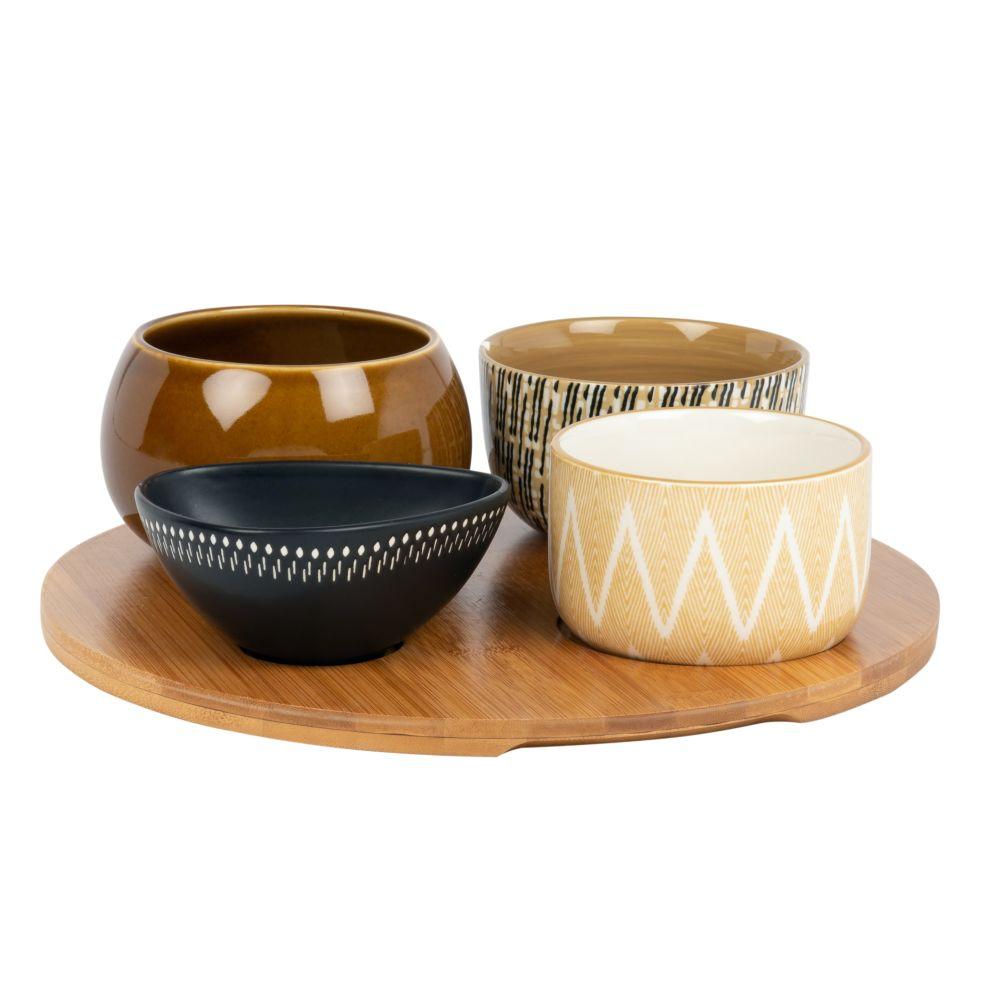 Aperitiftablett aus Bambus mit 4 Schaelchen aus Fayence, weiss, gelb und braun
