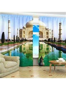 Artistic Taj Mahal Architecture Printed 3D Polyester Shading Curtain