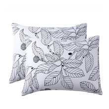 1pair Leaf Print Pillowcase Without Filler